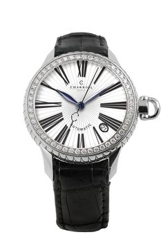 Women's Columbus Diamond Bezel Watch by Charriol on Philippe Charriol, Expensive Handbags, Swiss Made Watches, Boutique, Automatic Watch, Stainless Steel Case, Watches For Men, Women's Watches, Black Leather