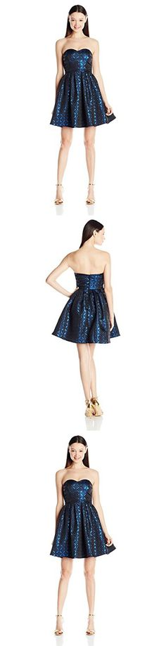 My Michelle Junior's Strapless Fit and Flare Short Prom Dress, Black/Blue, 11