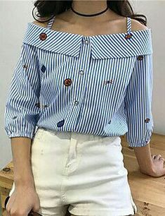 24 Women Printed Shirts That Will Make You Look Great - Women Fashion Trends - Moda Inverno Sewing Clothes, Diy Clothes, Clothes For Women, Mode Outfits, Casual Outfits, Fancy Tops, Mode Style, Refashion, Blouse Designs