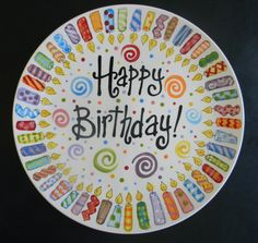 Candle Family Birthday Plate - 10 Inch Ceramic Plate