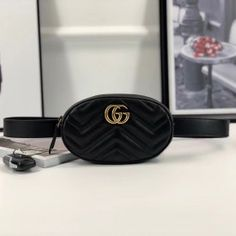 Gucci GG Marmont matelassé leather belt bag black 476434