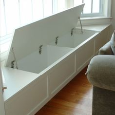 Window seat with storage. For the basement window.