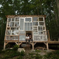 Tree house idea in our woods. Windows facing the valley :)