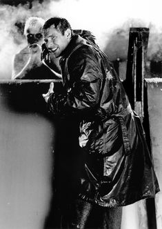 Climactic rooftop scene of 'Blade Runner' (1982) with Rutger Hauer and Harrison Ford. Hauer gives one of the most moving cinematic monologues committed on film, which he half-improvised! http://www.aintitcool.com/node/49975