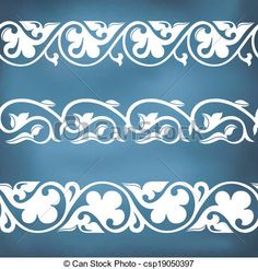 Seamless floral tiling borders - csp19050397 - nice design for a die cut