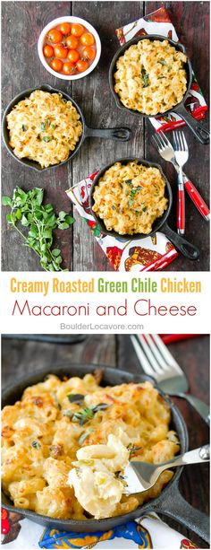 Creamy Roasted Green Chile Chicken Mac and Cheese. An unforgettable version of…