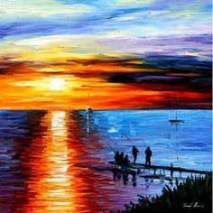 """FISHING WITH FRIENDS -  PALETTE KNIFE Oil Painting On Canvas By Leonid Afremov -  Size 30"""" x 30"""""""