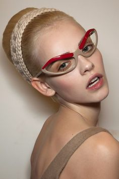 Ginta Lapina, backstage at Prada, Fall 2010 Ray Ban Sunglasses, Sunglasses Women, Prada Sunglasses, Sunnies, Popular Sunglasses, Ginta Lapina, Vip Fashion Australia, Four Eyes, Wearing Glasses