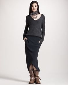 -3WU7 Brunello Cucinelli Paillette-Top Combo Dress, Multi-Strand Wool & Glass Necklace & Ostrich-Feather Necklace