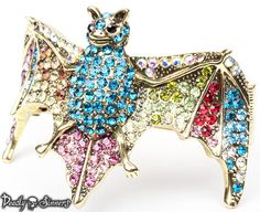 WOW! Gorgeous Gold Bling Multi Color Crystal Bat by DeadlySinners, $28.99