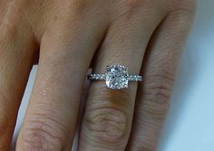 1.10 Ct. Natural Cushion Cut Pave Diamond Engagement Ring - GIA Certified
