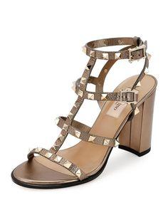 VALENTINO Rockstud Leather 90Mm City Sandal, Sasso. #valentino #shoes #sandals