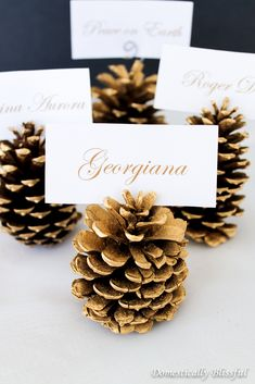 Pinecone Place Cards Looking for another golden addition to your Christmas decor? Check out this tutorial for Gilded Pinecone Place Cards.Looking for another golden addition to your Christmas decor? Check out this tutorial for Gilded Pinecone Place Cards. Christmas Place Cards, Thanksgiving Place Cards, Diy Thanksgiving, Christmas Table Settings, Christmas Table Decorations, Christmas Holidays, Christmas Crafts, Xmas, Holiday Tables
