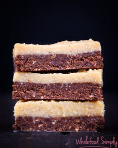 Chocolate Brownie Meets Caramel Fudge. Simple, delicious and free from gluten, grains, dairy, egg and refined sugar. Enjoy.