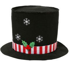 Turn heads with this festive top hat with light up snowflakes!   Measuring 31cm tall, this traditional head topper has a red and white felt ribbon around the base with a holly decoration.