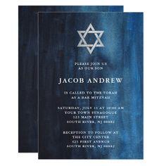 Dark Blue Watercolor Look Bar Mitzvah Card - invitations custom unique diy personalize occasions Unique Invitations, Invitation Cards, Invites, Shades Of Dark Blue, Bar Mitzvah Invitations, Watercolor Invitations, Bat Mitzvah, Star, Elegant