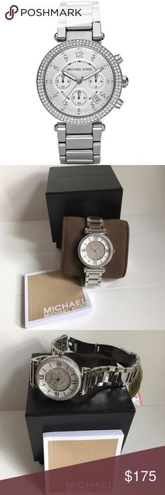 NEW Authentic Michael Kors Watch MK3355 Brand new with tags and guaranteed authentic. Michael Kors Caitlin Silver Crystal Pave Dial Ladies Watch, MK3355. MSRP $275 plus tax.   Stainless steel case with a stainless steel bracelet. Fixed stainless steel bezel. Silver crystal pave dial with silver-toned hands and index hour markers.   Dial Type: Analog Quartz movement Scratch resistant mineral crystal Case diameter: 38 mm Case thickness: 9.5 mm Band width: 24 mm Water resistant at 50 meters…