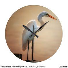 white heron / snowy egret clock