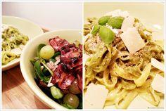 Pasta with basil, lemon and parmesan ... super delicious, rocket salad with grapes, bacon and     Pasta mit Basilikum, Zitronen und Parmesan Soße, dazu ein Rucola Salat mit Weintrauben, Speck und Sonneblumenkernen