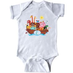 Noah's Ark Monogram Letter E initial Infant Creeper - White has cute boat full of animals with alphabet letter E monogrammed logo.  See our personalized Gerber Onesies® OPU for personalized Onesies or custom Onesies as Onesies is a registered Gerber branded product that we also carry. Make your own unique baby gifts which are always a baby shower hit.  Solid colors are 100% cotton Other colors cotton/polyester or cotton/polyester/viscose Blend Sizes: Newborn, 6 Months, 12 Months, 18 Months…
