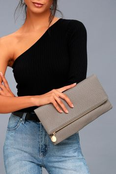 d250e37a65d Add a little extra pep to your OOTD with the Get Up and Go Grey Clutch