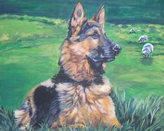 German Shepherd dog art CANVAS print of LA Shepard by TheDogLover