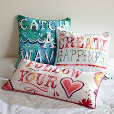 catch a wave pillow - katie daisy for pottery barn teen