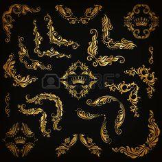 modern borders: Vector set of gold decorative hand-drawn floral elements, filigree corners, borders, frame, crown, monograms on black…