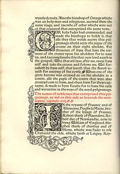 William, Archbishop of Tyre The history of Godefrey of Boloyne and of the conquest of Jherusalem London: Kelmscott Press 1893 Sp Coll q435 Quarto; Troy and Chaucer type; limp vellum cover; edition of 300 Page 42