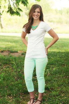Nestled: Mint Green Jeans