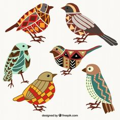 Colorful birds in geometric style Free Vector Bird Illustration, Pattern Illustration, Vogel Quilt, Mosaic Birds, Bird Quilt, Inspiration Art, Bird Drawings, Colorful Birds, Exotic Birds
