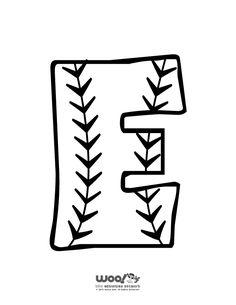 Printable Baseball Alphabet Letters Baseball Alphabet Letter E – Craft Jr. Alphabet Letters To Print, Alphabet E, Letter E Craft, Initial Crafts, Baseball Letters, Monogram Letters, Baseball Coloring Pages, Scrapbook Letters, Senior Night Gifts