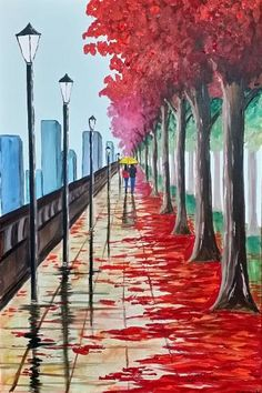 "Saatchi Art Artist Aisha Haider; Painting, ""Walk By The Autumn Trees 2"" #art"