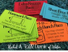 Student Reward Passes to use with a class store and Class Dojo Points Hassle-Free Class Store - Rachel A Tall Drink of Water