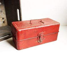 Industrial Chippy Red Vintage Liberty Steel Chest by JunctionARow