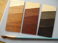liquid shoe polish samples on wood