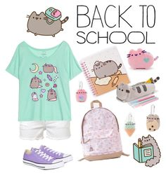 """#PVxPusheen"" by alltimegabi ❤ liked on Polyvore featuring Pusheen, Frame Denim, Converse, contestentry and PVxPusheen"