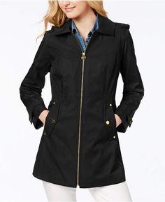 MICHAEL Michael Kors Petite Hooded Zip-Front Raincoat