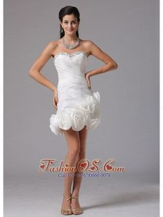 Sheath Column Sweetheart Beading 2013 Beach Short Wedding Dress With Hand Made Flowers  http://www.fashionos.com  http://www.facebook.com/fashionos.us  Get the look all your friends will envy in this amazing strapless prom dress. A super cute dress for junior prom, sweet sixteen celebrations, or any special occasion when you want to look your best. The glamorous bodice is ruched throughout.