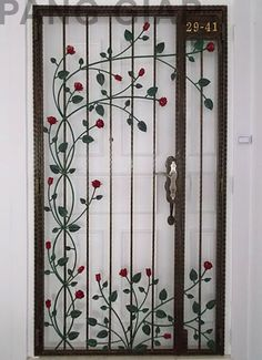 Wrought Iron Rose Design Grill Gate
