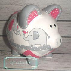 Items similar to Personalized Piggy bank, Blue Elephants artisan hand painted ceramic bank ~ Blue and Brown elephants on Etsy Personalized Piggy Bank, Pink Themes, Hand Painted Ceramics, Grey And White, Hot Pink, Artisan, Elephants, Etsy, Unique Jewelry