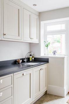 Bespoke kitchen, in Little Greene Portland Stone, with honed granite work surface Kitchen Cupboard Colours, Taupe Kitchen, Kitchen Units, Kitchen Paint, Kitchen Cupboards, Kitchen Colors, Home Decor Kitchen, Kitchen Interior, New Kitchen