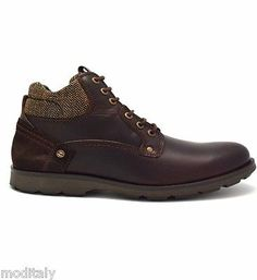 WRANGLER scarpe uomo GROVE DARK BROWN BLACK WM162201 polacchino pelle lacci 431214df617
