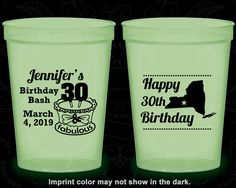 30th Birthday Glow in the Dark Cups, Birthday Bash, 30 and fabulous, Glow Birthday Party (20196)
