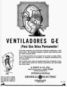 Redescubriendo a Puerto Rico: Publicidad - Abanicos electricos General Electric- 1926