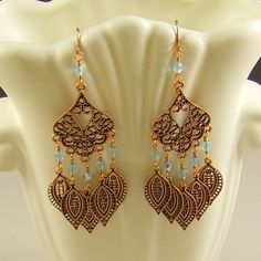 Copper Chandelier Earrings Aqua Crystals