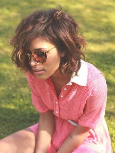Messy Curly Bob and cute pink dress