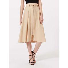Miss Selfridge Camel Tie Waist Midi Skirt. (255 NOK) ❤ liked on Polyvore featuring skirts, camel, calf length skirts, pleated skirts, pleated midi skirt, tie waist skirt and beige skirt