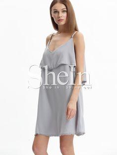 5ef13170619 Shop Grey Off The Shoulder Ball Embellished Plus Size Dress online. SheIn  offers Grey Off