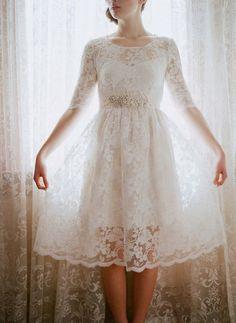 beautiful civil wedding lace dress